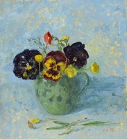 60. Pansies in Jar